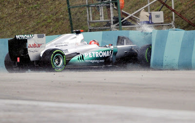 Michael Schumacher crached into the rubber wall during the Friday practice