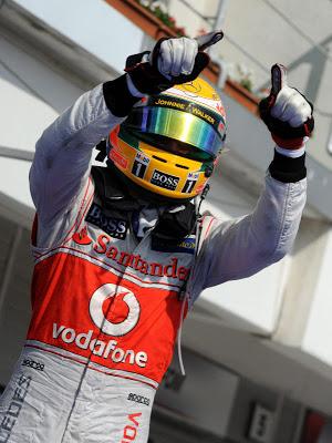 Lewis Hamilton is celebrating his victory