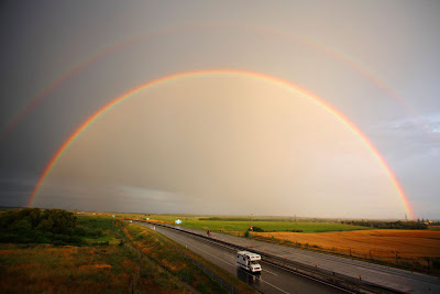 Double rainbow over the motorway