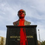 Statue of Atatürk covered with red paint in Budapest