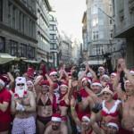 Santas run half-naked in Budapest