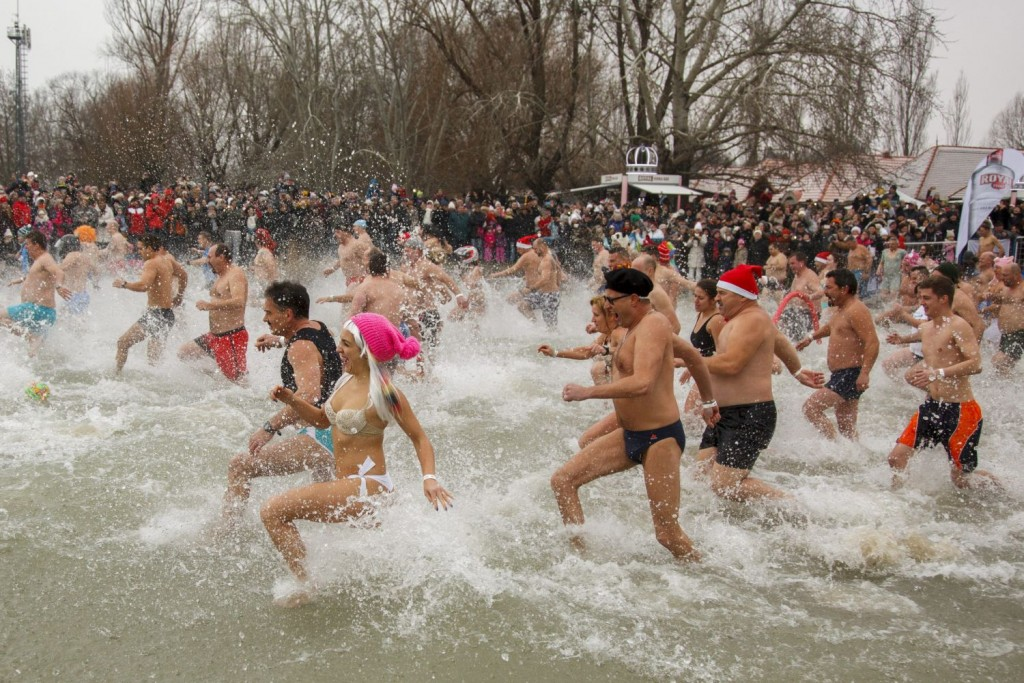 New Year's bath at Lake Balaton