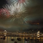 Fireworks over the rive Danube in Budapest