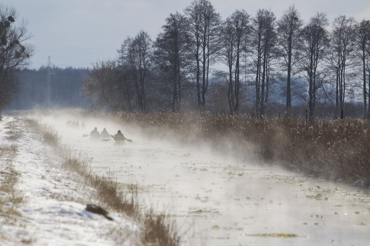 Canoeing on Canal Heviz, which connects the hot water Heviz Lake and River Zala. In some places the water is 18-20 degrees Celsius, even in the cold winter days. (Photo: Gyorgy Varga)