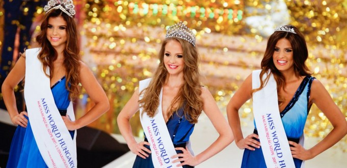 Virág Koroknyai winner (middle)  Viktória Viczián second (left) and Laura Petõ third (right) at the final of Miss Hungary beauty pageant on June 18 in Budapest.