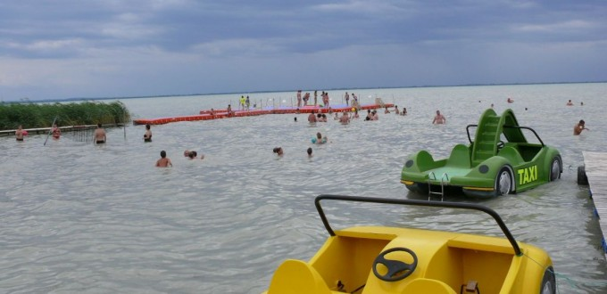 Water bikes and dark clouds at Lake Balaton. Always watch for the storm warning signs.