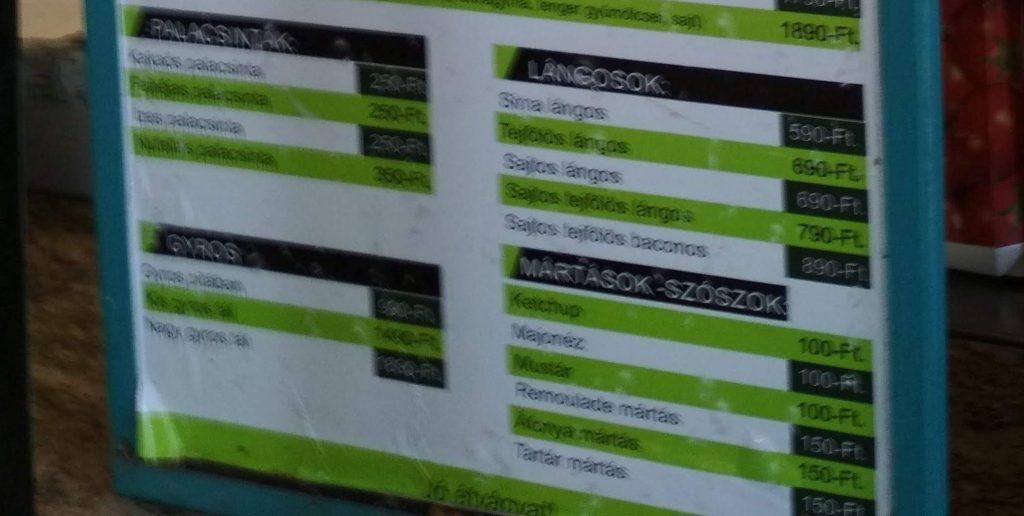Food prices Balaton